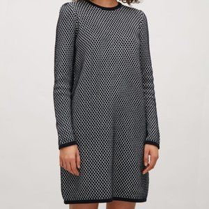 COS Navy and White Sweater Dress Raised Knit